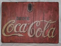 "VINTAGE OLD BARN WOOD HAND PAINTED DRINK COCA COLA SIGN 27""W X 20""H NICE!!"