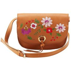 Charlotte Russe Embroidered Crossbody Bag ($19) ❤ liked on Polyvore featuring bags, handbags, shoulder bags, brown, faux-leather handbags, brown shoulder bag, brown purse, faux leather crossbody and brown crossbody purse