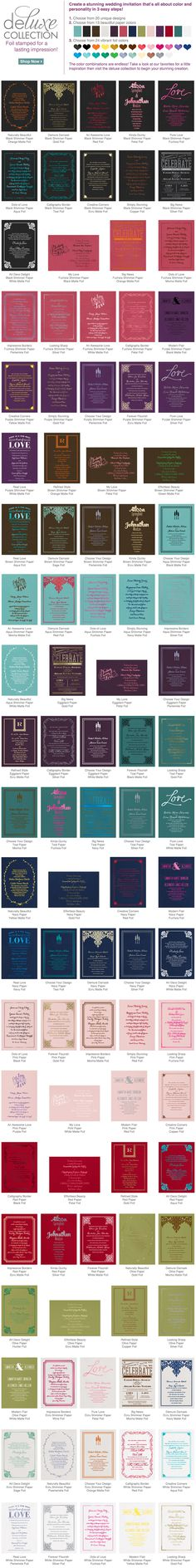 the deluxe collection I foil wedding invitations I color combo idea gallery!