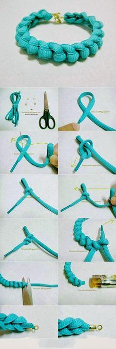 Make a Blue Bracelet From Hemp
