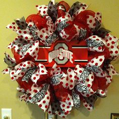 Ohio State University Wreath, OSU Wreath, Buckeye Wreath, sport wreath on Etsy… Ohio State Wreath, Ohio State Crafts, Tailgate Decorations, Outdoor Christmas Decorations, Christmas Crafts, Wreath Crafts, Diy Wreath, Diy Crafts, Buckeye Crafts