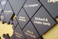 Donor Wall of Fame- Inspiration Photo Environmental Graphics, Environmental Design, Thank You Plaques, Signage Board, Donor Wall, Outdoor Signage, Wall Of Fame, Media Wall, Signage Design