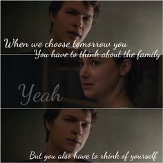I think he is more saying this to himself rather than Tris