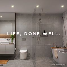 Experience the utmost in living comfort. Luxury 2, 3 and 4 bedroom townhomes now selling from $755,000. Black Tile Bathrooms, Rustic Bathrooms, Modern Bathroom, New Bathroom Designs, Bathroom Interior Design, Bathroom Renos, Laundry In Bathroom, Grande Hotel, Dream House Plans