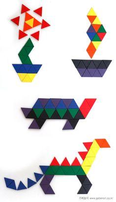 Mozaïek voor kleuters 2 Math For Kids, Puzzles For Kids, Fun Math, Math Games, Pattern Block Templates, Pattern Blocks, Montessori Activities, Toddler Activities, Abacus Math