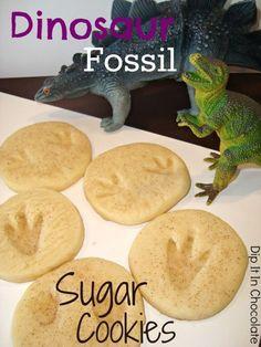 Dinosaur Fossil Sugar Cookies (Basic Sugar Cookie Recipe) ~ Dip it in Chocolate.my grandkids would love this. Chocolate Sugar Cookies, Sugar Cookies Recipe, Cookie Recipes, Fun Cookies, Dinosaur Cookies, Dinosaur Fossils, Dinosaurs Preschool, Plastic Dinosaurs, Dinosaur Activities