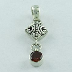 GARNET STONE LOVELY DESIGN 925 SOLID STERLING SILVER PENDANT  #SilvexImagesIndiaPvtLtd #Pendant