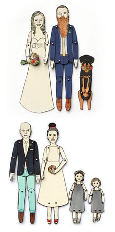 Paper Doll Portraits for Wedding Engagement or by JordanGraceOwens
