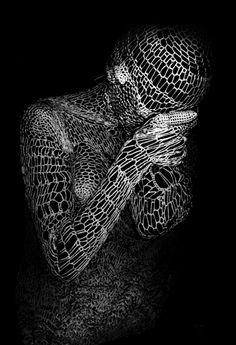"Saatchi Online Artist: Elena Papaioannou; Black & White, 2008, Photography ""knitting human 6"""