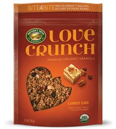 Nature's Path Love Crunch - Carrot Cake | 11.5 oz. pouch | This Sunday afternoon classic is now a granola flavor! Think spiced carrot cake and cream cheese frosting. We use real organic pecans, carrot, pineapple, raisins, cinnamon and top it off with tasty little organic yogurt chips for that deliciously 'frosted flavor'.  Love Crunch is the perfect college student snack at just $4.49.  Like all Nature's Path products this is completely organic.