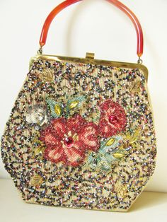 Antique Beaded Purses For Sale | SALE Vintage Purse Fall Colors Beaded Handbag from Soure' Bags New ...