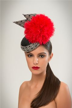 #ss15 awon golding millinery #headpiece #red #black #london #fashion