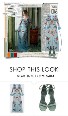 """""""Gucci  Resort 2016 by sasoza"""" by sasooza ❤ liked on Polyvore featuring Gucci, GetTheLook, gucci, FashionBook, getthemood, moodboard, floral, floraldress, inspo and styleicon"""