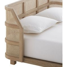 """Woven cane headboard and whitewashed oak breathe light and nature into the bedroom. Designed by , this cozy bed """"achieves equilibrium by combining the solid language of a simple wood structure with the lightness of the perforated cane. Cane Furniture, Modern Bedroom Furniture, Wicker Furniture, Furniture Design, Mirror Furniture, Bed Frame And Headboard, Wicker Headboard, Wicker Bedroom, Wicker Couch"""