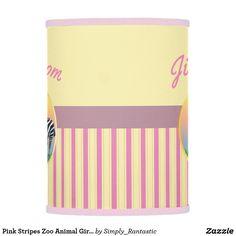 Pink Stripes Zoo Animal Girls Room Lamp Shade