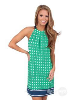 Irresistible Dress in Green Squares | Monday Dress Boutique