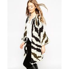 ASOS Premium Kimono Cardigan In Abstract Animal (€65) ❤ liked on Polyvore featuring tops, cardigans, multi, white top, animal tops, cardigan kimono, white bell sleeve top and bell sleeve tops