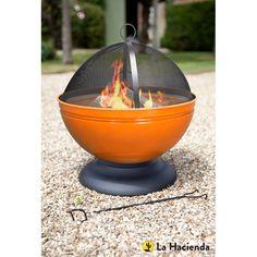 La Hacienda Globe Enamelled Fire Pit With Grill £77.75 http://www.woodburningstovesandflues.co.uk/OutdoorHeating/FirepitsFirebowlsFirebaskets/LaHaciendaGlobeEnamelledFirepitWithGrillVariousColours