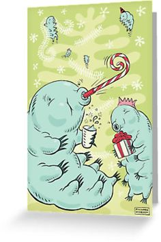 Christmas Tardigrade by Richard Morden. Because Tardigrades are partigrades! Tardigrades are tiny animals that live in moss and can survive extreme environments such as the vacuum of deep space and office Christmas parties. They are also known as water bears or moss piglets.