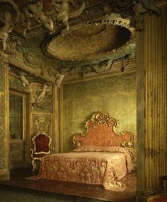 Bedroom from Sagredo Palace,  Venice, stuccowork probably by Abbondio Stazio of Massagno and Carpoforo Mazzetti, ceiling painting probably by Gaspare Diziani of Belluno, wood, stucco, marble, glass.  The Metropolitan Museum of Art, New York
