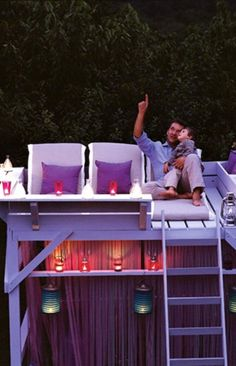 Turn an old bunk bed into a stargazing loft retreat.