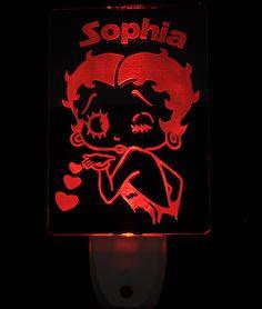 Betty Boop Light Sensor LED Plug In Night Light, Personalized Custom LED Nightlight by NeedForLight on Etsy