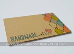 Set of 48 Handmade With Love Mini Cards Hand Drawn by penandpaint, $20.00