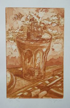 """""""Storm in a Glass"""", aquitint on paper, 27×17,5cm; 9/19, 2012"""