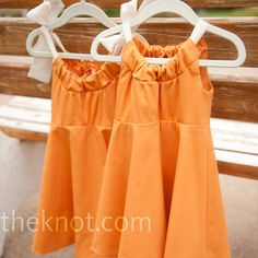 Orange Flower Girl Dresses - custom made by a seamstress, but hey - still adorable