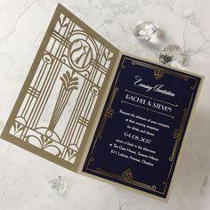 Golden Lasercut Gate Art Deco Great Gatsby Evening by Cartalia