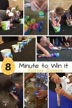 Minute to Win It Easter Edition Games Minute to Win It Easter Games - Teach Me Mommy Easter Party Games, Easter Activities For Kids, Easter With Kids, Nanny Activities, Stem Activities, 4 Kids, Easter Ideas, Easter Camping, Minute To Win It Games