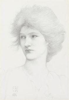 Portrait study of Olive Maxse, probably for 'The Sirens'  -  Edward Burne Jones