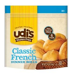 Udi's Gluten-free Classic French Dinner Rolls, 1 Packs Has 6 Rolls: Delicious dinner rolls, gluten free, dairy free and soy free. Just heat and serve. 6 rolls per package. Gluten Free Bakery, Gluten Free Recipes, Gourmet Recipes, Gluten Free Dinner Rolls, Dairy Free, Breads, Foods, Chocolate, Free Products