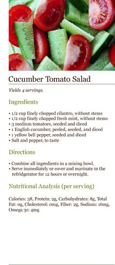 Healthy Food Cucumber Tomato Salad Healthy foods you should be eating!