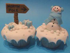 north pole, snowman cupcakes