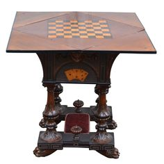 19th Century English Folding Game Table | From a unique collection of antique and modern game tables at https://www.1stdibs.com/furniture/tables/game-tables/