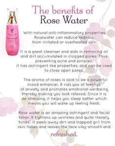 Refreshed Pure & Natural Rose Water Versatile beauty application in full bloom! Pure and natural rose water.