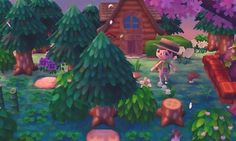 magical forest town trees path qr house