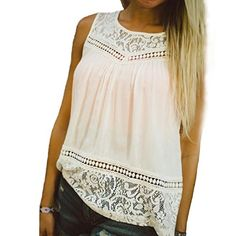 Tonsee Women Casual Lace Splice Sleeveless Blouse Shirt XL *** Find out more about the great product at the image link.