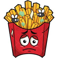 Stinky French Fries Going Bad Emoji: Royalty-free stock vector illustration of a french-fried potatoes emoji (in a red pack) frowning and looking sad as it goes bad - little flies flying around. Emoticon, Emoji, Potato Drawing, Burger Cartoon, Fried Potatoes, Vector Clipart, French Fries, Pictures To Draw, Cartoon Art