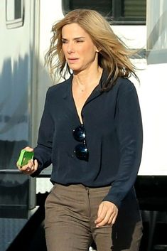 Sandra Bullock Shows Off Her Blonde Hair While Filming Our ...