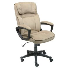 Serta Microfiber Executive Office Chair – Light Beige – 43670 - Home Office Decoration Best Office Chair, Executive Office Chairs, Office Desk, Coworking Space, Comfortable Office Chair, Ergonomic Office Chair, Cool Chairs, Bar Chairs, Desk Chairs
