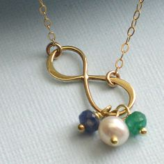 RESERVED Infinity Birthstone Necklace with por ShopSomethingBlue, $40.00