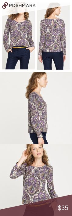 J. Crew Paisley Blouse Gorgeous allover paisley print in cream, purple, green, black, pink and yellow. Long sleeves look great worn down or rolled up. Small keyhole at back of the neckline with a button (easy to slip on overhead without unbuttoning). Perfect, like-new condition with no flaws. Hits below the hips. Perfect for late summer and fall. J. Crew Tops Blouses
