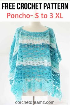 Crochet Poncho Pattern, Free Calming Waves Poncho This free crochet poncho pattern for women comes in sizes small to This easy pattern works up quickly and is perfect for summer. Crochet Cape, All Free Crochet, Crochet Cardigan, Knit Crochet, Crochet Vests, Crochet Shirt, Crochet Motif, Crochet Clothes, Crochet Scarves