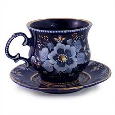 Gzhel Porcelain Tea Cup and Saucer Set    FromRussia.com