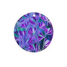 """Ebi Emporium """"Efflorescence - Lavender Blue"""" Teal Purple Ceramic Circle Ornament"""