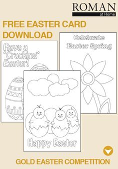 Enter our Easter special competition. All you have to do is get creative with an Easter touch. Whether it's making traditional Easter Eggs, your own Easter Cards (download our free printable at http://www.romanathome.com/images/downloads/eastercards.pdf ) or some Easter treats  you could win a Kitchen Linen Set & our coveted Cadbury's Creme Easter Egg! Follow the info in this pin to enter…  Competition by Roman at Home, T apply. Please don't re-pin without caption.