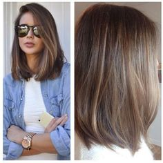 Hair color ideas for brunettes balayage straight long bobs Ideas Balayage Straight, Balayage Lob, Brown Balayage, Long Bob Balayage, Medium Balayage Hair, Balayage Brunette Short, Straight Hair Highlights, Balayage Highlights, Long Bobs