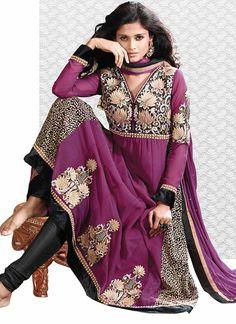 Astonishing purple georgette anarkali suit